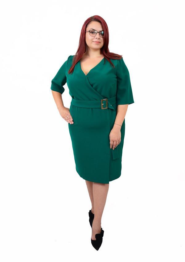 rochie-office-cu-catarama-verde-rochie